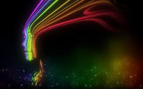 woman rainbow hair